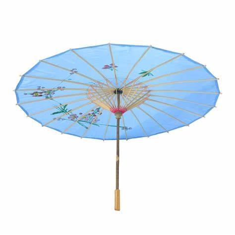 PoeticExst 12 Colors Traditional Chinese Bamboo Sun Umbrella Outdoor Wedding Craft Parasol Paper Umbrella, White;yellow;pink;green;blue;fuchsia;etc.