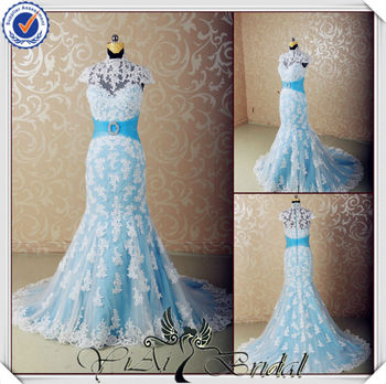 Beau JJ3555 Halter Light Blue And White Wedding Dress With Blue Accents