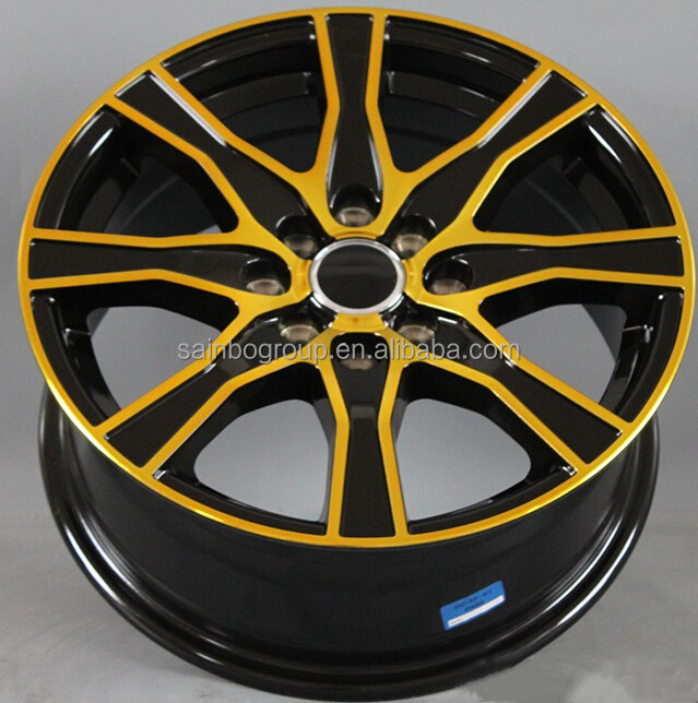 14 inch 6.0 black gold face alloy wheel for car
