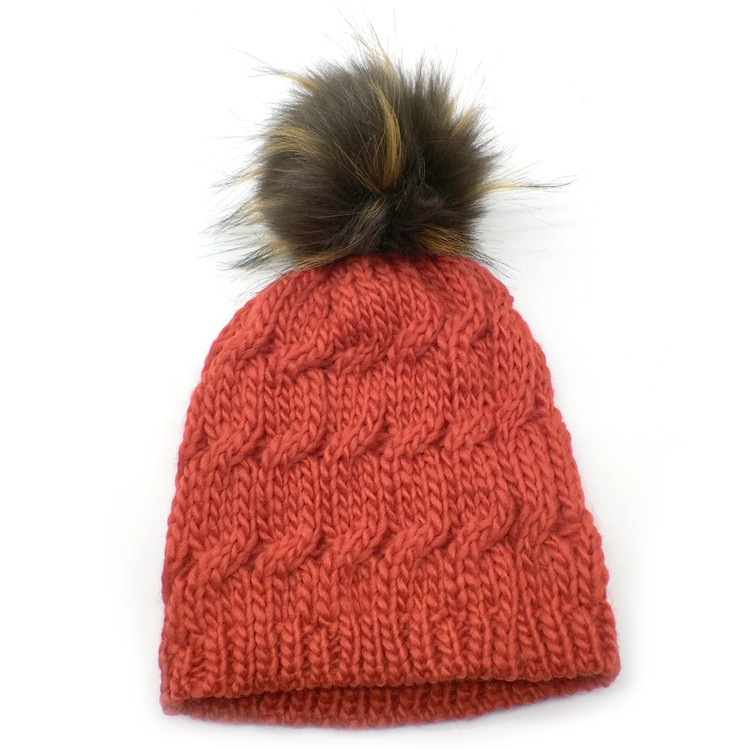 Fashion fox fur pompom luxury fur ball with snap button for beanie hat