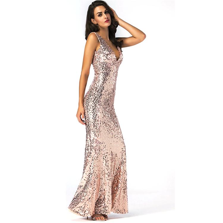 Sequin beaded V neck floor length mermaid prom bridal maxi evening dress long фото