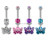 Crystal double Butterfly Navel Belly Ring 14G Body Piercing Jewelry