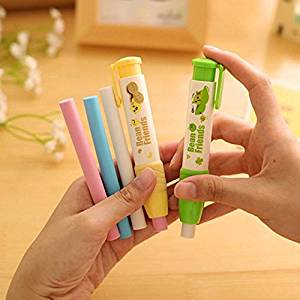 Katoot@ 3set /lot Novelty Pressing white pencil erasers for kids Small Peas Illustration painting eraser canetas office school supplies