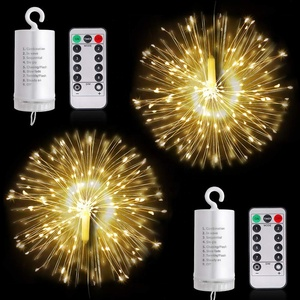 Firework LED String Light 8 Modes Dimmable Fairy Lights with Remote Control Battery Operated Hanging Starburst Lights