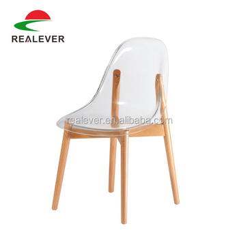 Low Back Wooden Legs Stool Side Dining Acrylic Chair