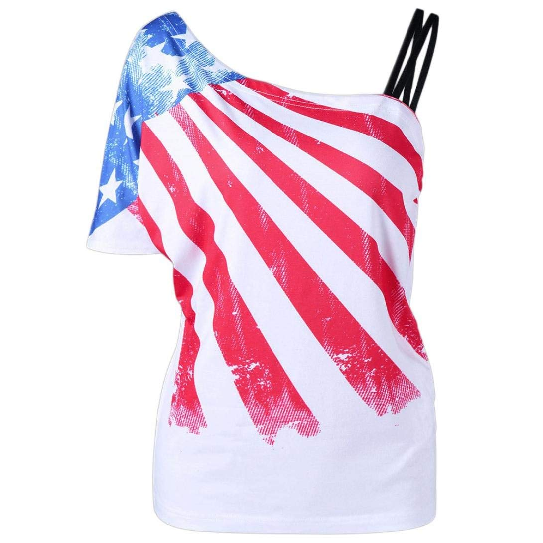 Casual Print American Flag Print Tank Tops,Clearance! AgrinTol Women Print American Flag Sleeveless Tops Vest Blouse (S, Red)