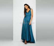 Dark blue sleeveless lady prom dress sexy V neck wholesale women evening dress