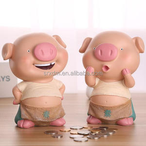 4 inches funny pink pig piggy bank/oem pig money saving plastic piggy bank/make your own plastic cute piggy bank