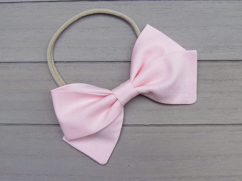 Baby headbands Handmade Light Pink Bow Nylon Headband or Hair Clip baby girls headbands fabric headbands light pink headband Alligator clip