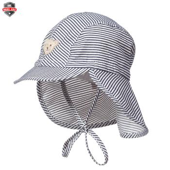 Custom striped summer beach kids toddler baby boys flap sun protection swim  hat 95a32c32193