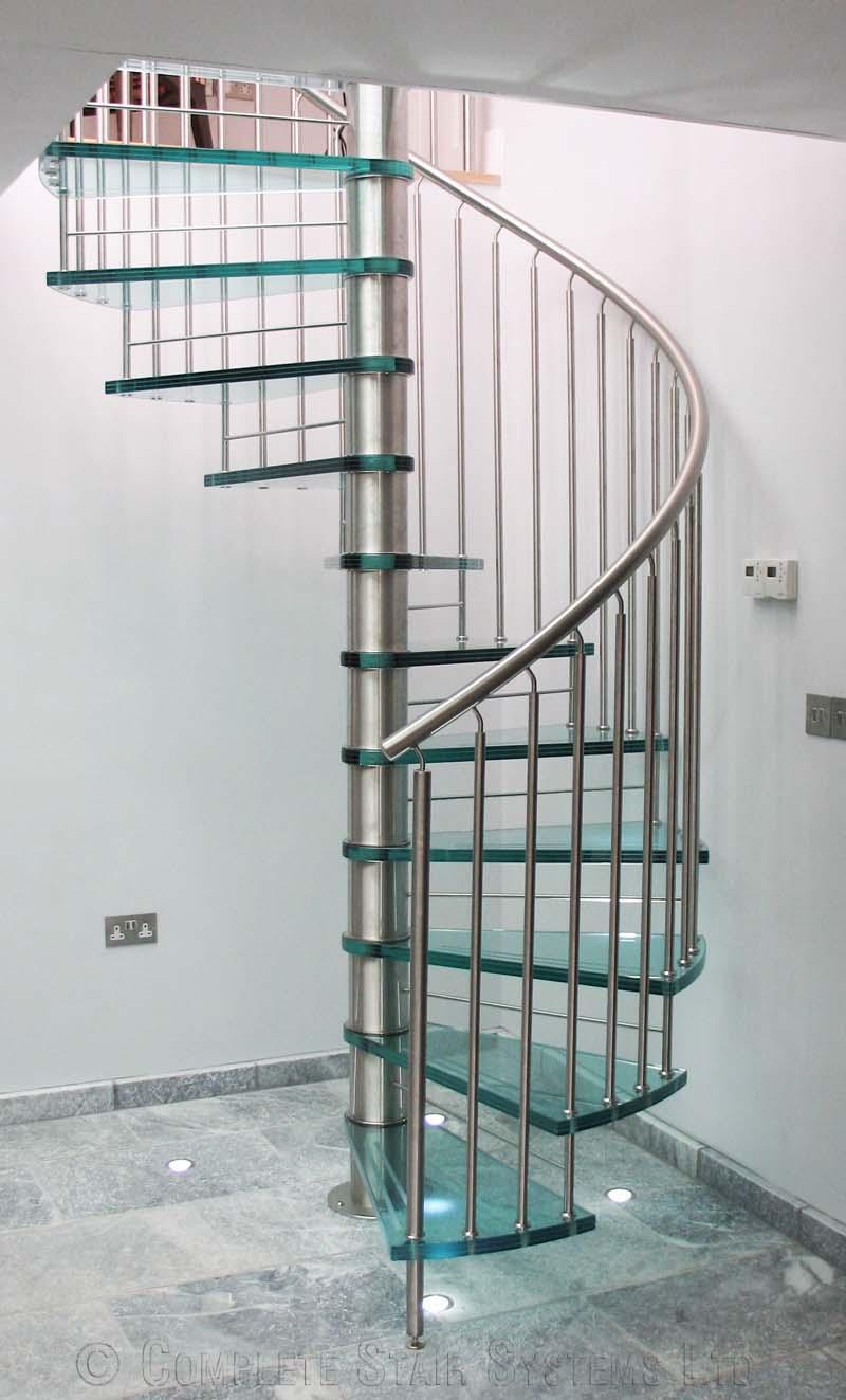 bajo coste de vidrio cubierta de acero inoxidable escalera de caracol