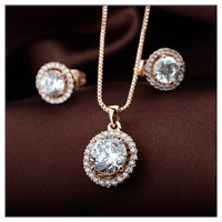 Popular white stone earrings necklace set gold plated ladies jewellery set