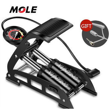 Mole small MOQ high pressure maintain portable bike pump foot pump