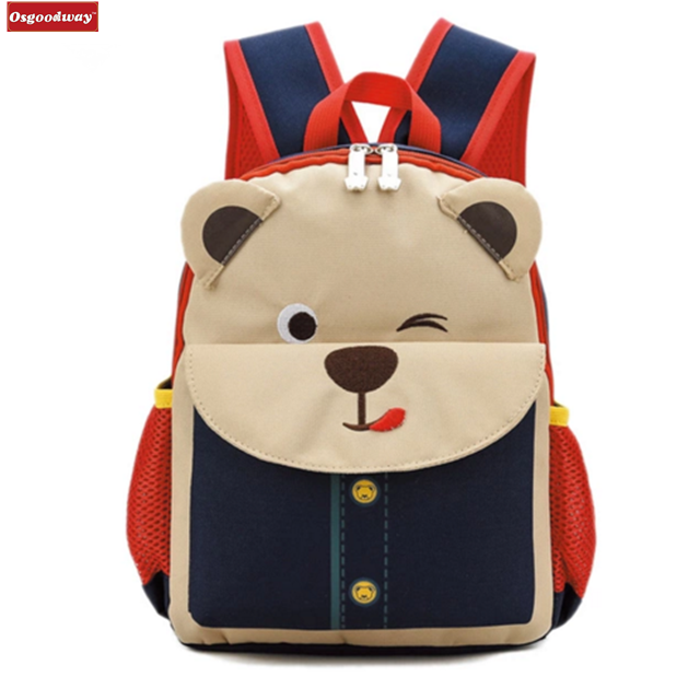 Osgoodway New Cute Backpack For Children Orthopedic Children's Backpacks Bear School Bag Cartoon Kids Bag School Bags