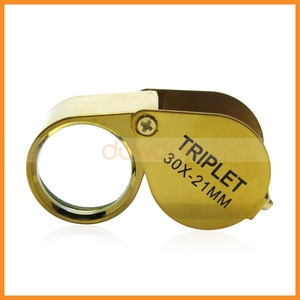 Gold & Silver 30x 21mm Jewelers Eye Loupe Magnifying Lens Loop Glass Watch Repair Magnifier