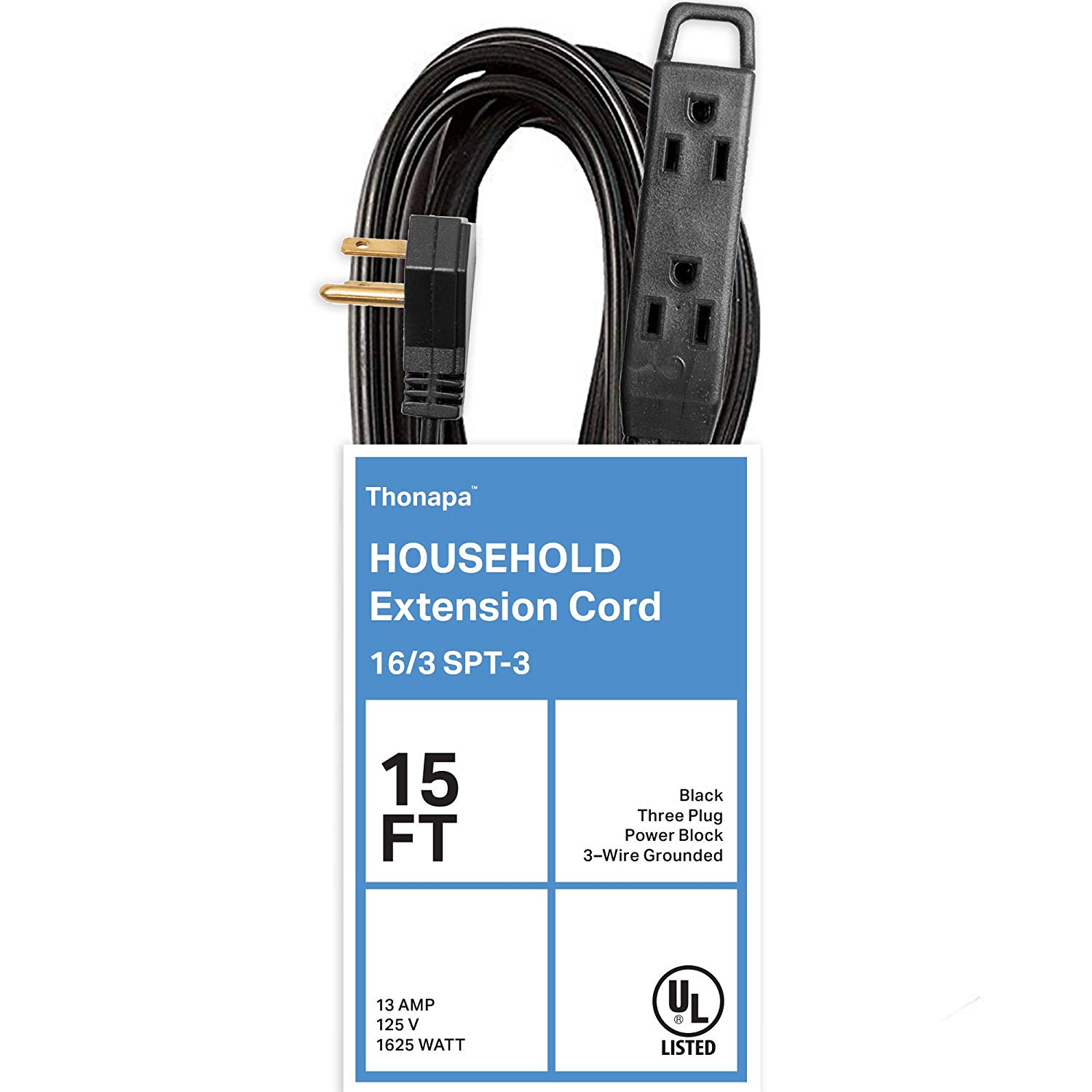 Thonapa 15 Ft Extension Cord with 3 Electrical Power Outlet - 16/3 Durable Black Cable
