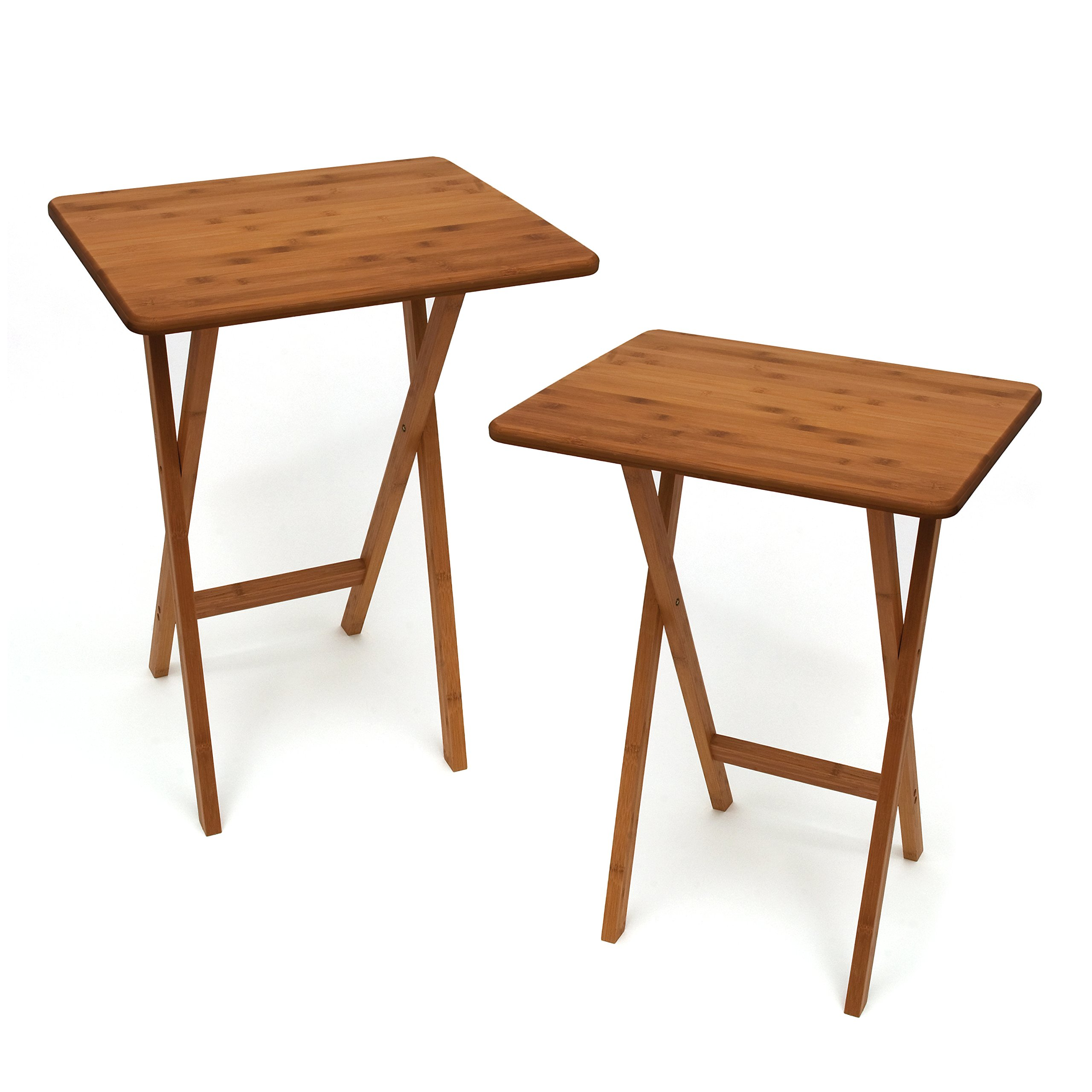 "Lipper International 803-2 Bamboo Wood Rectangular Snack Tables, 18.75"" x 15"" x 24.75"", Set of 2 Tables"