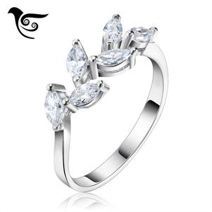 OSDR129 Leaf Shape Jewellery Women Finger Rings With White Stone