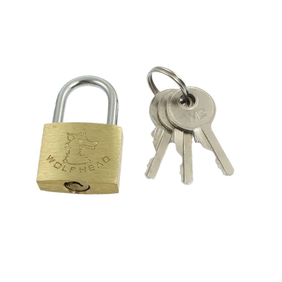 uxcell Cabinet Jewlery Box Packsack Brass 20mm Width Padlock Gold Tone w 3 Pcs Keys