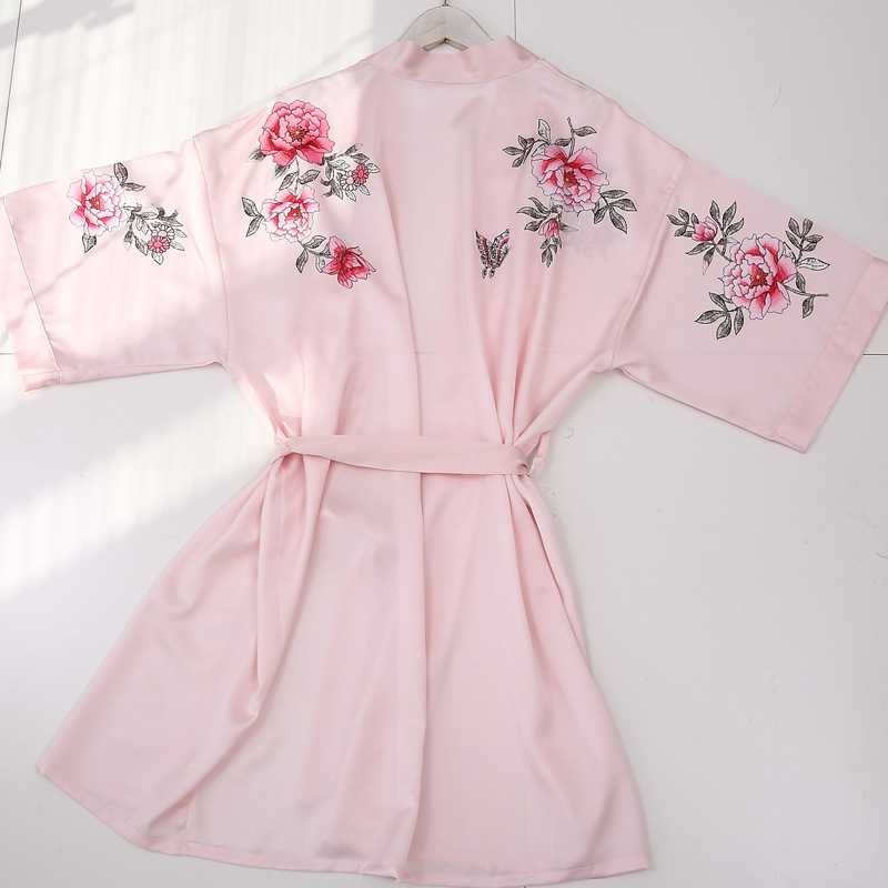 Lady Black Pink Bridesmaid Satin Silk Fabric Floral Printed Bridal Satin Kimono Robe