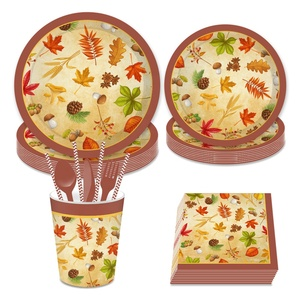 Festival decoration thanksgiving table decorations disposable dinner tableware set paper plates cups napkins in stock