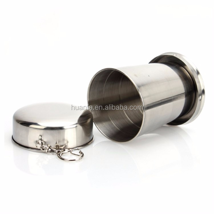 Best seller portable stainless steel camping foldable collapsible pocket cup with key chain