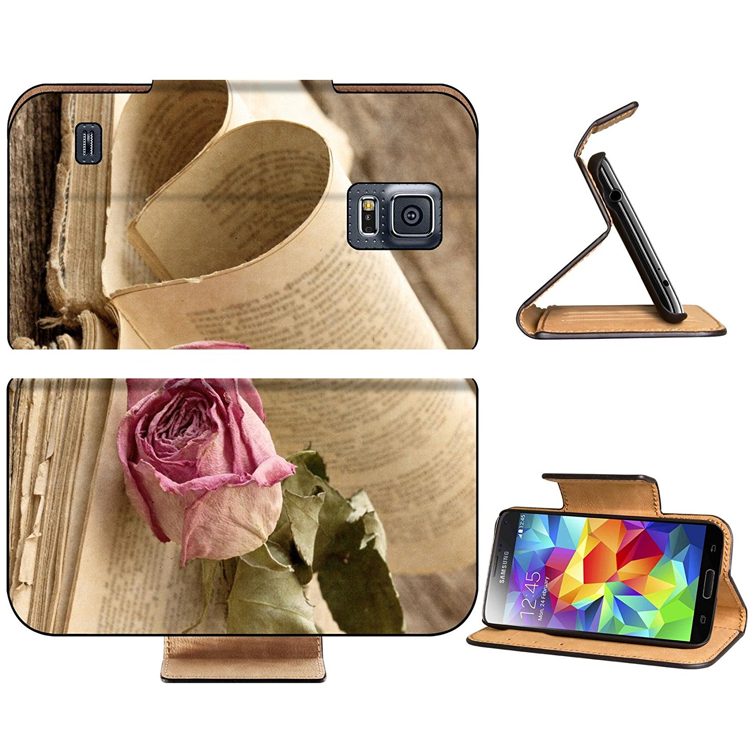 Liili Premium Samsung Galaxy S5 Flip Pu Leather Wallet Case Dry rose on an old book in a vintage style Photo 19668650 Simple Snap Carrying