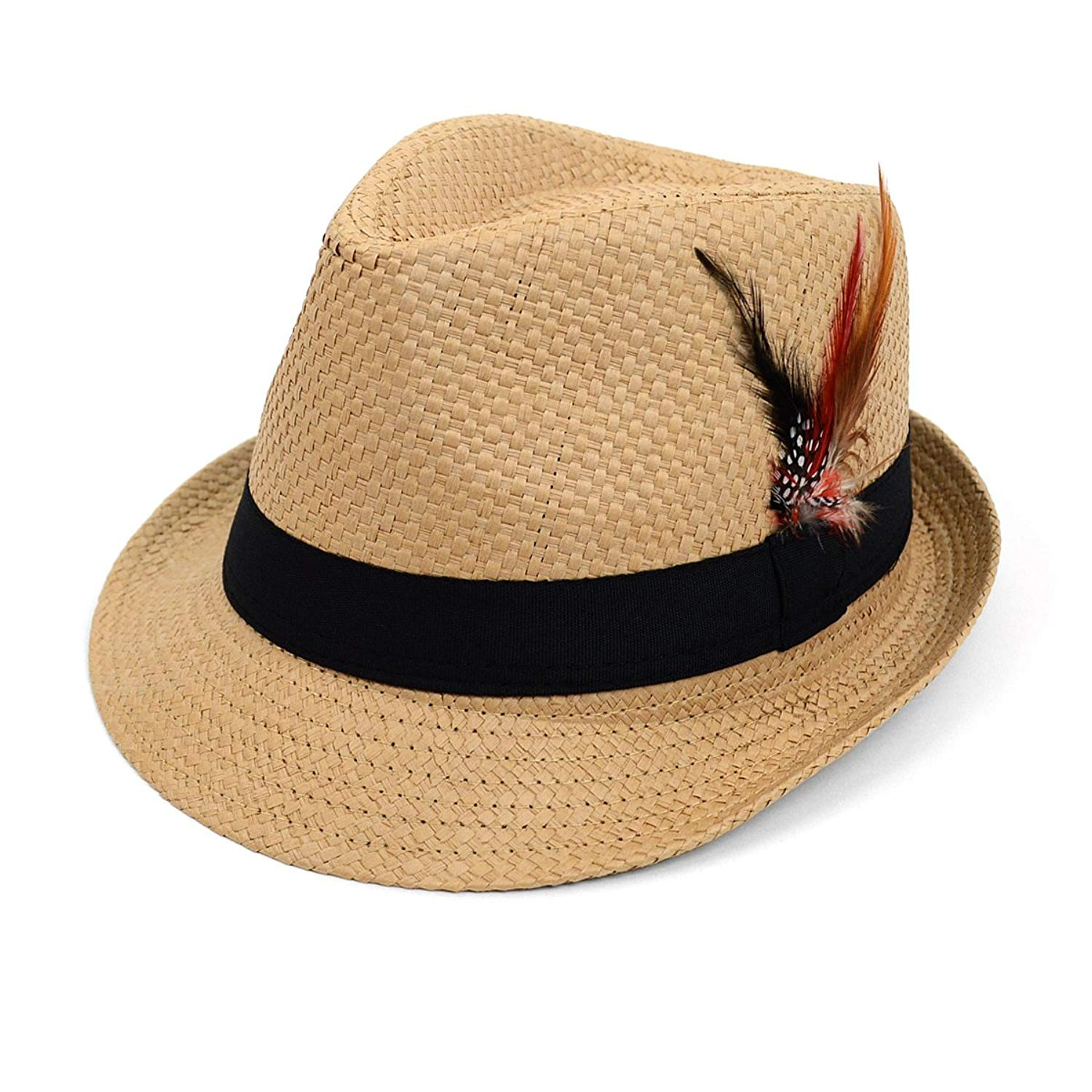 6e5d930d5018e Get Quotations · Unisex Trilby Summer Fedora Hat with Feather