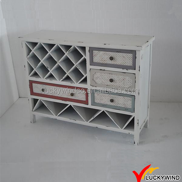 Vintage Country Style Wooden Wine Cabinets White