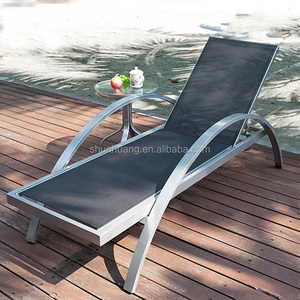 Garden furniture beach chaise lounge black fabric sun lounger