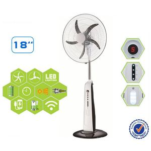 18 inch pedestal solar powered electric standing fan rechargeable camping fan