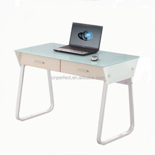 Mobile home use glass computer desk with metal frame and two drawers