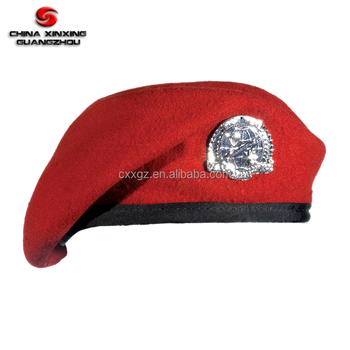 Red Color 70-90 gram weight 100% wool Military Beret with Badge