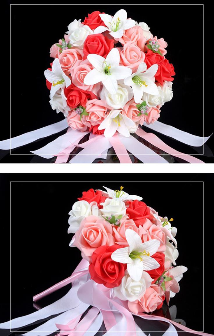 6pcs/lot Bridal Bouquet DIY Rose Lily Hand Holding Flower ...