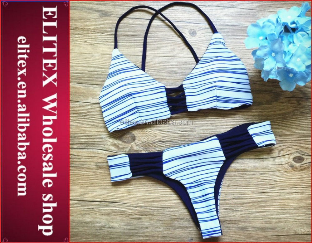 Wholesale Brazilian Stripe Fashion Swimwear For Young Girls 2016