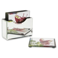 UV printing rectangle acrylic mirror coaster set of 6 silver mirrored plexiglass cup mat