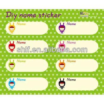 Customized diy name sticker cartoon sticker for children