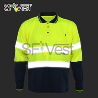Safety manufacturer in china hi-vis polyester contrast color long sleeve and black bottom design polo safety t-shirts