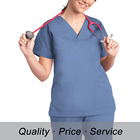 Short Sleeve HU-K113 Women Scrub Top Professional Cotton Uniform for Nurse