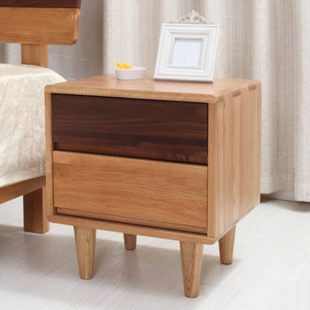 LJ&L Pure hand-made oak wood nightstand, European minimalist bedroom multi-purpose lockers,White oak wood,17.715.719.6inch
