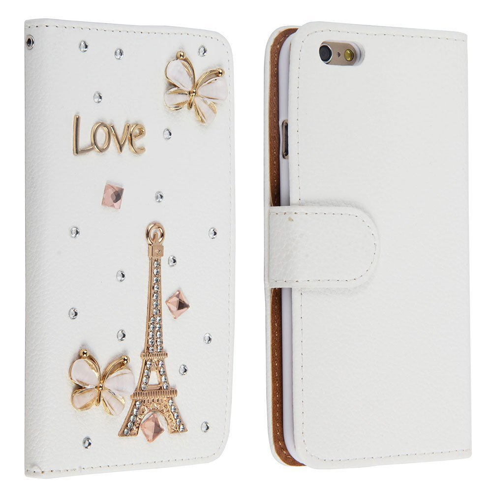 Leegoal(TM) 3D Bling Crystal Rhinestone Magnetic Wallet Synthetic Leather Case for IPhone 6 Plus 5.5 Inch(Butterfly,Tower Pattern)