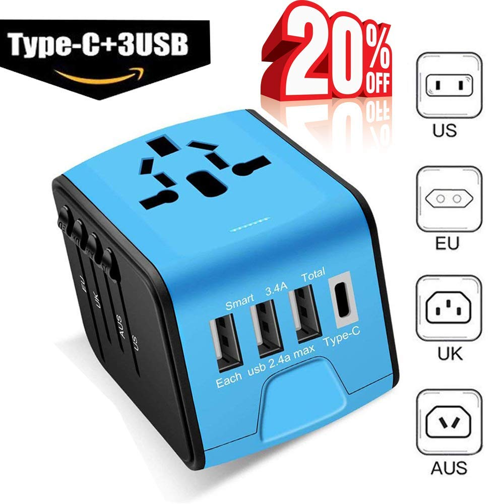 Universal Travel Adapter -Whlzd International Travel Power Adapter W/Smart High Speed 3.4A Type C 4 USB Wall Charge, Worldwide AC Wall Outlet Charger Adapters UK, US, AU, Europe & Asia(Blue)