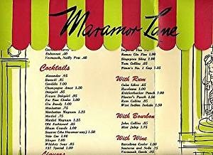 The Maramor Restaurant Dinner Menus and Drinks Menu Columbus Ohio 1950's