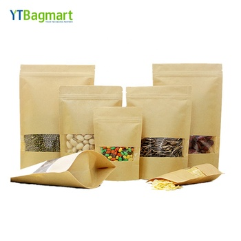 Eco-Friendly Food Packaging Zipper Kraft Doypack Stand Up Pouch with Window