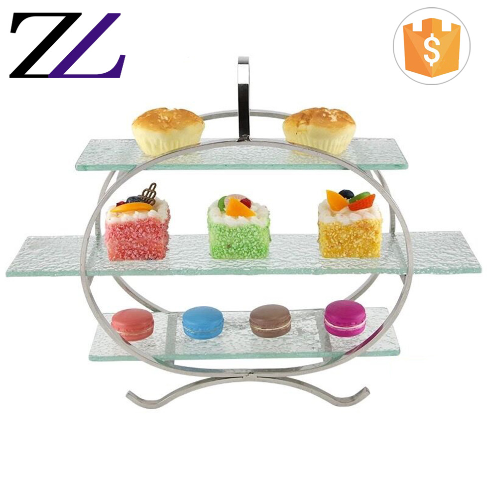 Restaurant catering event decorating materials hanging 3 tier cupcake pastry food buffet display stand