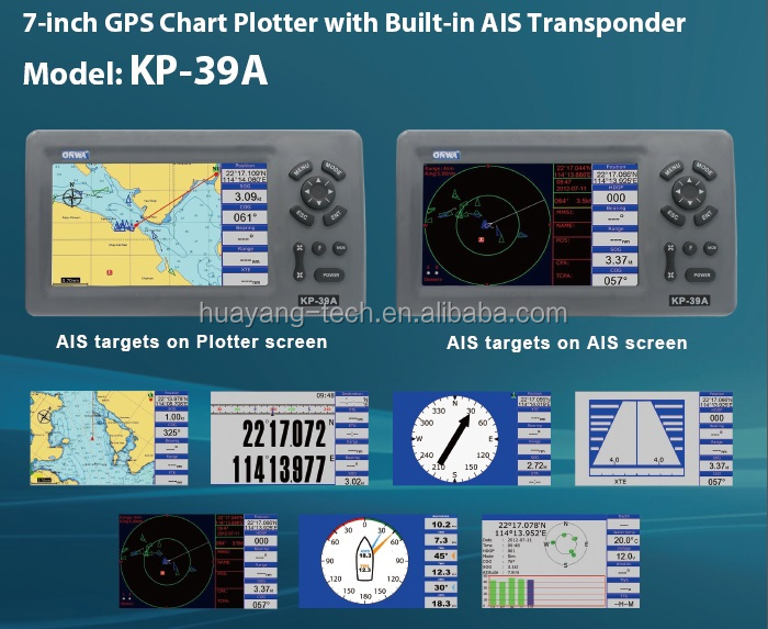 New KP-39A 7inch ONWA marine GPS Chart plotter with AIS transponder