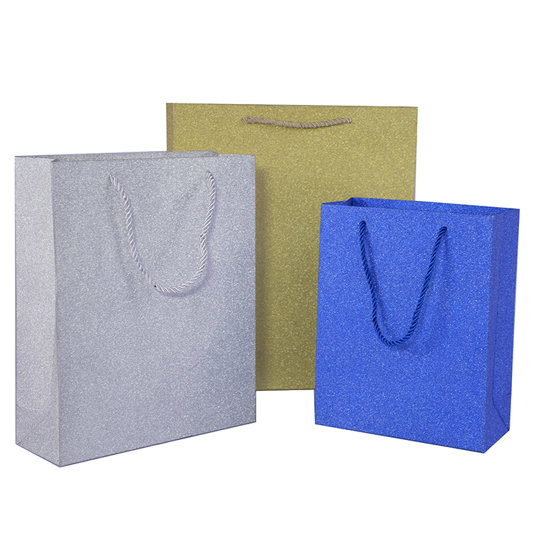 Shopping bag  blue color  customized size glitter handbag