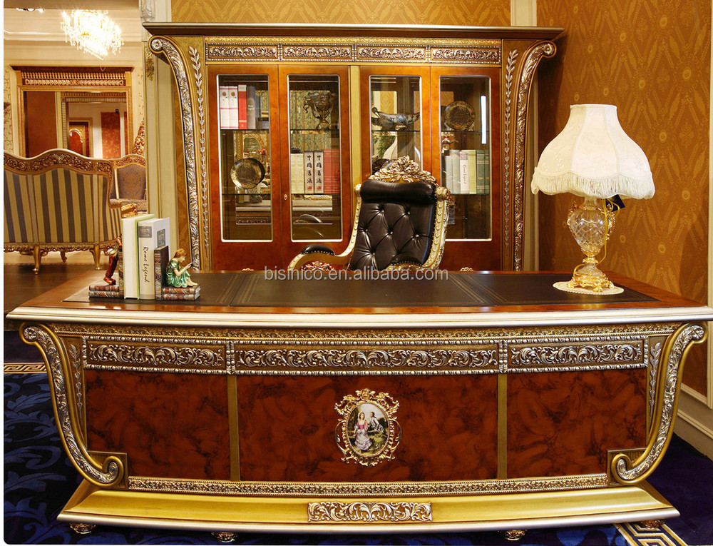 classic office desks. Luxury French Louis XV Style Golden Wood Carved Office Desk/ European Classic Executive Desks U