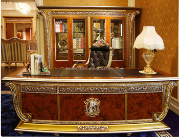 luxury french louis xv style golden wood carved office desk