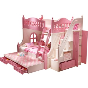 MDF Bunk bed cheap double bed modern Children bedroom furniture pink Factory directly wooden Princess Bed